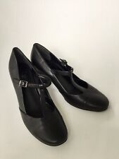 CLARKS Black Leather Mary Jane Style T Bar Shoes UK Size 7/EU 40/ Exc Cond