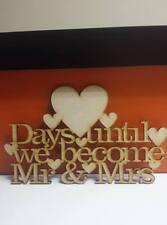 MDF giorni fino a WEDDING / MR & MRS Countdown Placca / firmare 4mm 25 cm x 15cm