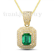 Emerald Cut 5x7mm Green Emerald Diamond Solid 14Kt Yellow Gold Women Pendant
