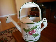 "Ceramic Watering Can Pitcher Holly Berries Christmas Hand Painted RCCL 10"" tall"
