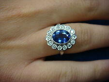 HIGH END 2 CT AAA TANZANITE AND 0.50 CT DIAMONDS HALO DESIGN LADIES RING, SIZE 6