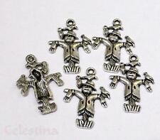 10 Antique Silver Scarecrow Charms - 3D - Wizard of OZ - 25mm - LF NF