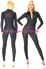 Blue and Black Spandex Silk Suit Catsuit Costumes Sexy Front Zip Body Suit F156