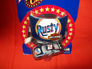 RUSTY WALLACE #2 HARLEY DAVIDSON MOTORCYCLES 1/64 CAR AND HOOD WINNER'S CIRCLE