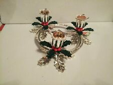 Beautiful 3 Holder Hollyberry Candle Christmas Table Decoration