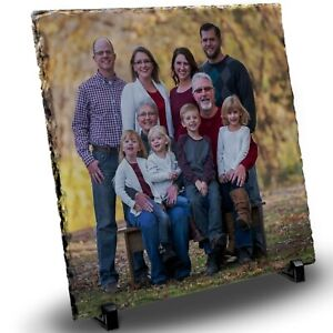 Personalised Glossy Rock slate Family Picture Photo Text Printed full Color Gift