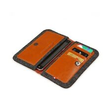 D-Park iPhone 6 Plus Leather & Wool Felt Smartphone Wallet Case in Tan Quality