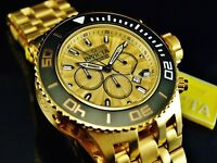 Invicta Men's 52mm Subaqua Specialty Chronograph 18K Gold Plated Gold Dial Watch
