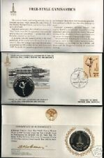 RUSSIA 1980 MOSCOW OLYMPIC GYMNASTICS SILVER COIN + FDC STAMP USSR CCCP CURRENCY