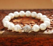Fashion 10mm Handmade White South South Sea Shell Pearl Bracelet 8''