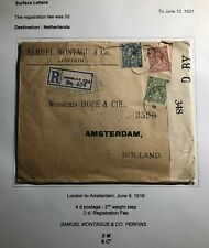 1916 London England Censored Commercial Cover To Amsterdam Netherlands Perfin