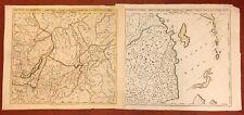 1745 J N Delisle 2 cartes Fleuve Amour Lac Baïkal  Atlas Russicus St Petersbourg