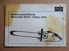 Betriebsanleitung SOLO hobby 645 Motorsäge Kettensäge technische Daten