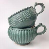 Handmade Stoneware 2 Mugs Soup/Bowls Thumb Grip Studio Pottery Signed Teal Green