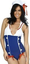American Patriotic Pinup Sailor July 4th Nautical Navy Bow Hat Bodysuit Swimsuit
