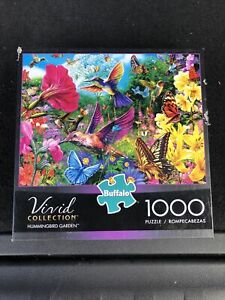 "Buffalo Games 1000 pc puzzle Hummingbird Garden Vivid Collection 26.75""x19.75"""