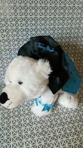 Peluche  ours blanc cape bleue étoiles noires Thierry Mugler Marionnaud 32 cm