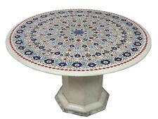 90 cm Pietra Dura CouchtischTisch Florentiner Mosaik table wohnzimmertisch weiss