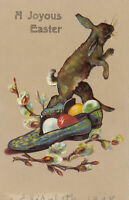 Easter Postcard~Bunny Rabbit with Colored Eggs~Shoes & Pussy Willow Flowers-p554