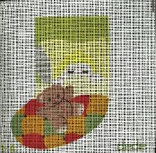 dede Snug in Bed Painted Needlepoint Canvas