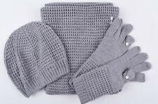 CALVIN KLEIN Women's 3-pc Winter Set, Snood+Gloves+Beanie, Grey, One Size