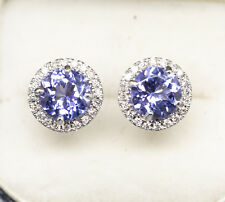 Handcrafted Natural 1.20ctw Tanzanite and Diamond Halo Stud Earrings 18k White G