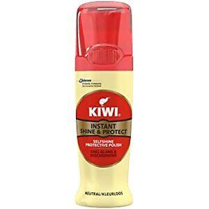 Kiwi Instant Liquid Shine & Protect Shoe Wax Sponge Boots Polish NEUTRAL 75ml