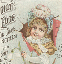 ST. JOSEPH, MO TRADE CARD, D. BOEGLE, sold GILT EDGE POLISH, PRETTY GIRL   A880