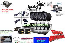 KIT VIDEOSORVEGLIANZA 4 TELECAMERA INFRAROSSI HD320 + DVR + ALIMENTATORE + CAVi