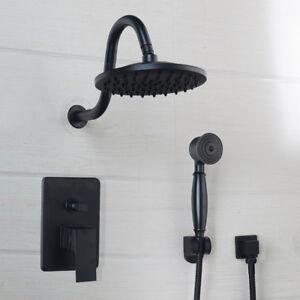 "Oil Rubbed Bronze 8"" Bathroom Shower Faucet Set Rain Round Shower Head Mixer Tap"