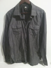 Mens Rock & Republic Button Front Shirt Gray With White Pinstripes Sz XL