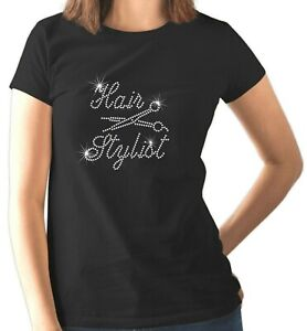 HAIR STYLIST Crystal Fitted Ladies T Shirt Hairdresser Beautician (Any Size)