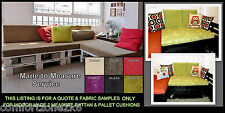 QUOTE & PLUSH FABRIC SAMPLES FOR MADE 2 MEASURE RATTAN PALLET FURNITURE CUSHIONS