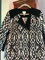 Chicos Womens Size 3 Black White Jacket Assymetrical Zipper Black Trim Beautiful