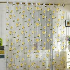 2.5Mx1M Flower Sheer Voile Eyelets Panel Valance Curtain Divider Blinds Yellow