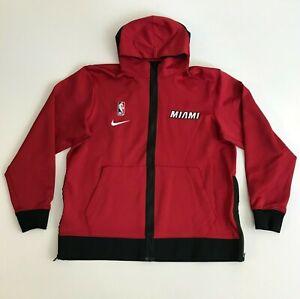 Nike Mens Large Miami Heat Basketball Therma Flex Hoodie Zip Jacket Red Black