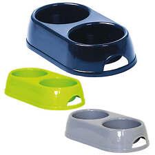 Cat Dog Double Bowl 2x0.23L & 2x0.57L Bowl Feeder Water Dish Fidding Kitten Pet