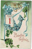 CPA Fantaisie Fête Bonne Année 1906 fleurs