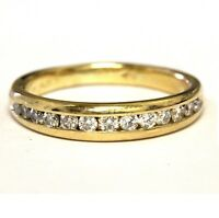 18k yellow gold .37ct VS H round channel set diamond wedding ring band 4.6g