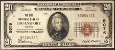 1929 Twenty Dollars Nat'l Currency, The City National Bank of Logansport, IN!