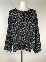 Madewell Womens Blouse Print Mix Meadow Shirt Branch Floral BLack White Work XL