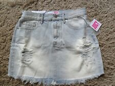 Juicy Couture light blue denim distressed skirt size 10 (W 28) short brand new