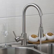 US Kitchen Pull Out Swivel Spary Brushed Nickel Mixer Faucet Plat Basin Sink Tap
