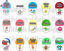 "15 ( 4""X6""each) Shave Shaved Ice Snow Cone Decal Concession Food Truck Series 2"