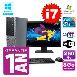 """PC Dell 790 DT Intel I7-2600 8Go Disque 250Go Graveur Wifi W7 Ecran 27"""""""