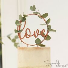 ROSE GOLD 'LOVE' WEDDING CAKE TOPPER - Can be Customised with Your Own Foliage