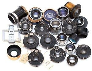 Job Lot Of Old Lenses & Shutters For Plate / Folding Cameras. Zeiss, Leitz, Ross