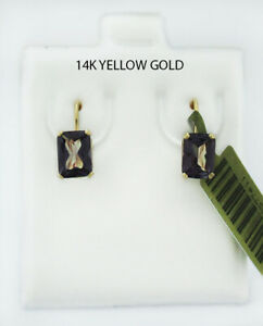 ALEXANDRITE 2.18 Cts DANGLING EARRINGS 14K GOLD ** Lever Backs * NEW WITH TAG *