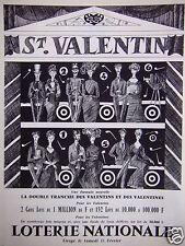 PUBLICITÉ 1965 LOTERIE NATONALE ST VALENTIN LA DOUBLE TRANCHE - ADVERTISING