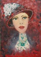 """MARIA MURGIA - """"Figura colorata"""" - Olio su tela cm 35x25  + ARCHIVIO"""